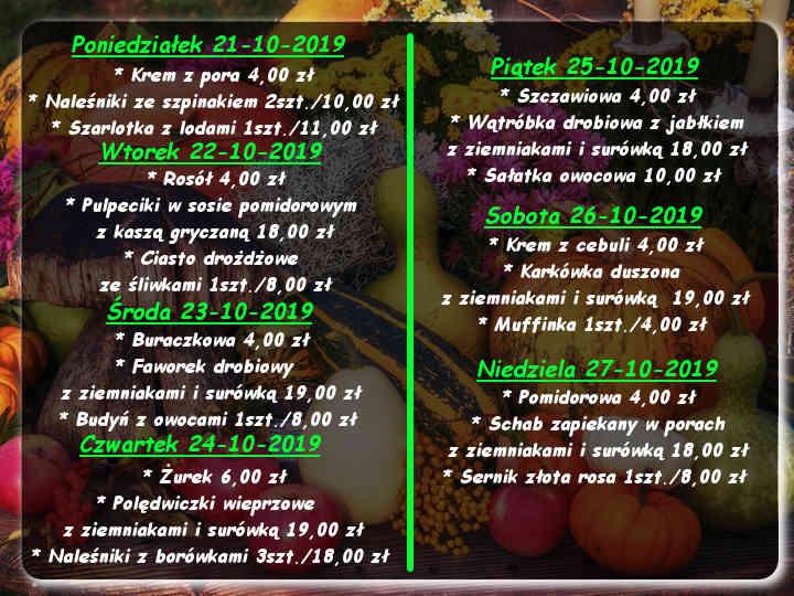 MMenu Dnia restauracja Korona Augustów:Zupa kapuśniak 6,00 zł; Faworek drobiowy 25,00 zł ; Szarlotka 18,00 zł